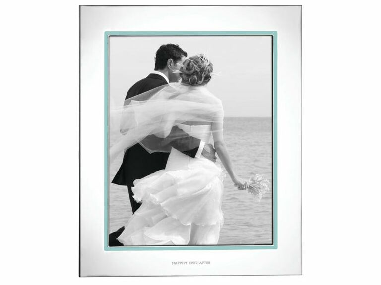 Elegant silver plated wedding picture frame with teal border