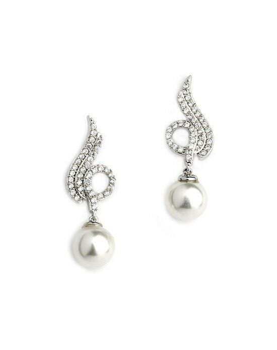 USABride Elena CZ and Pearl Earrings Wedding Earrings photo