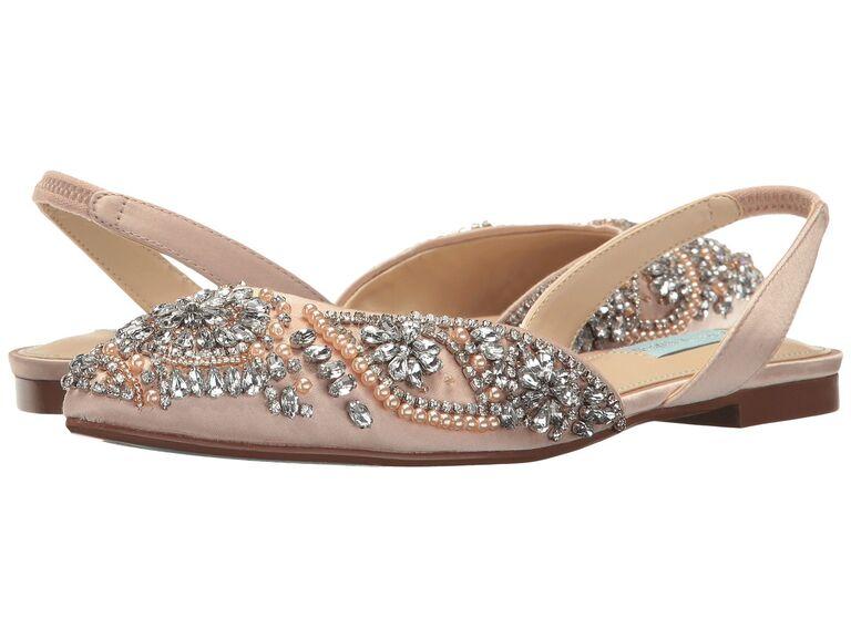 Jeweled slingback sparkly wedding shoes