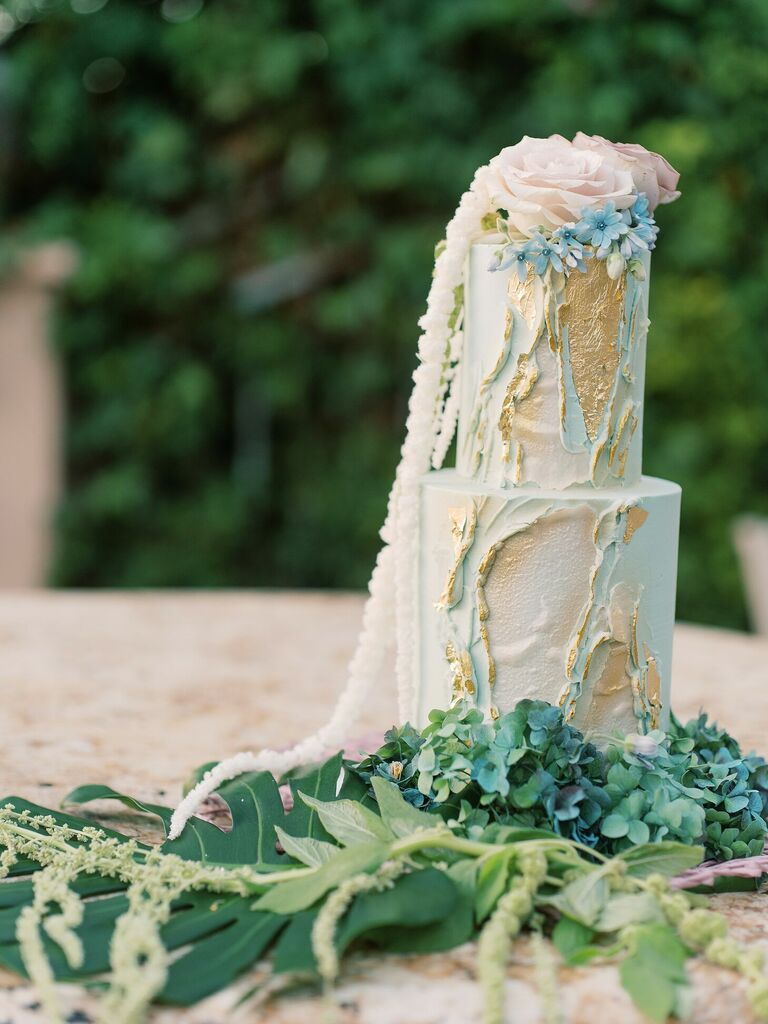 Two-tier ocean-inspired wedding cake