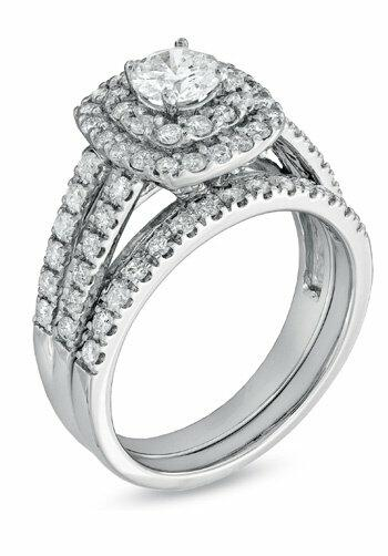 Zales 1 1 2 CT T W Diamond Double Frame Bridal Set in 14K White Gold