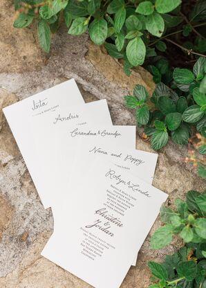 Simple Black-and-White Wedding Programs