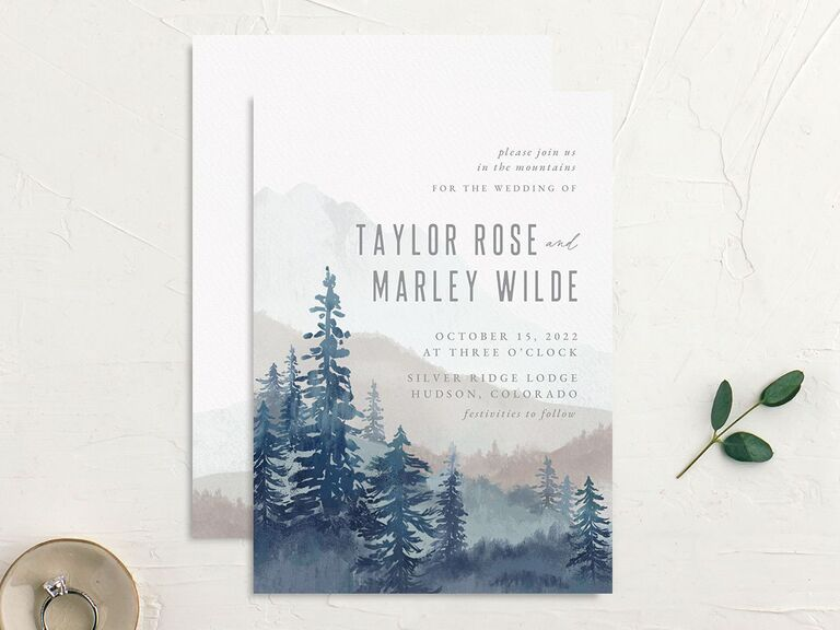 Mountain and trees illustrated wedding invitation budget friendly