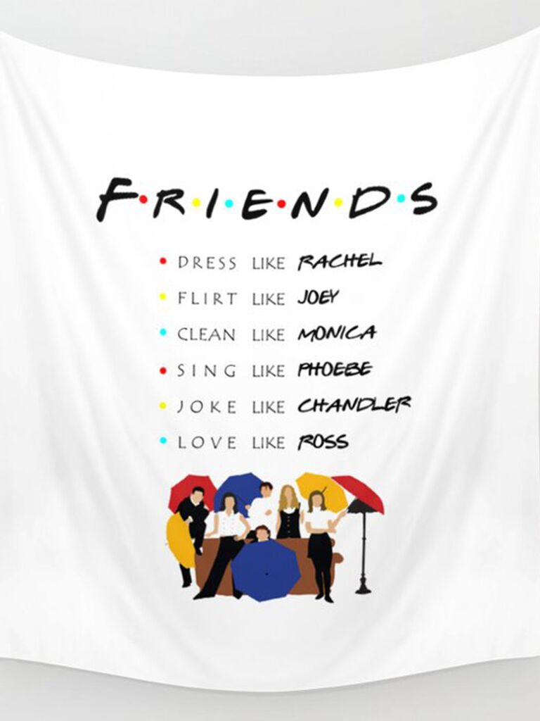 'Friends' banner listing all the characters' names, a characteristic, graphic of cast with umbrellas