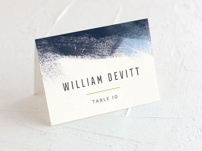 wedding place cards blue theme