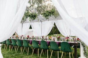 Green Velvet Reception Chairs at Minimony in Colorado