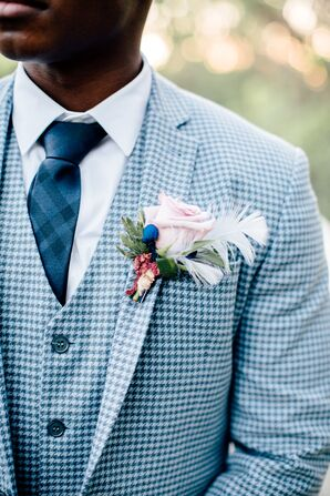 Blue Houndstooth Suit with Rose and Feather Boutonniere