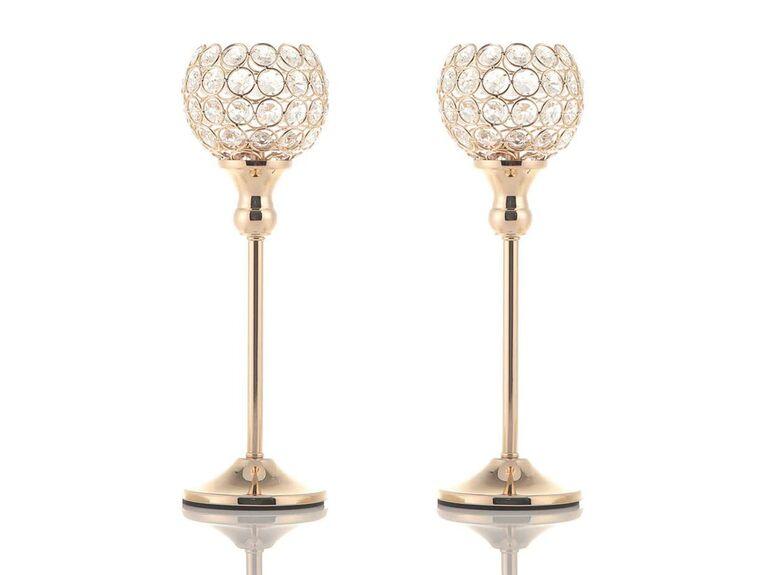 Vincigant gold crystal votive candle holders
