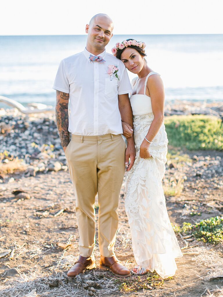 Blue linen groom's suit and strapless bridal gown
