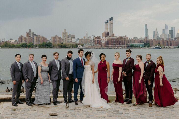 Waterfront Wedding Party Portraits for Brooklyn Wedding