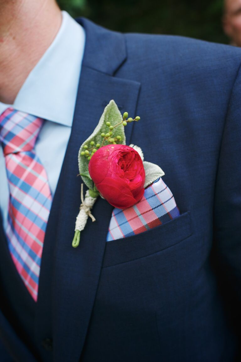 Red Peony Groom Boutonniere And Matching Plaid Tie