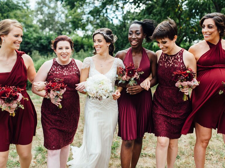 Bride with bridesmaids in dusty rose slip dresses