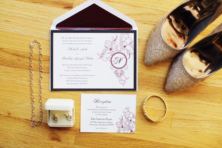 Monogrammed Wine-Colored Invitation Suite