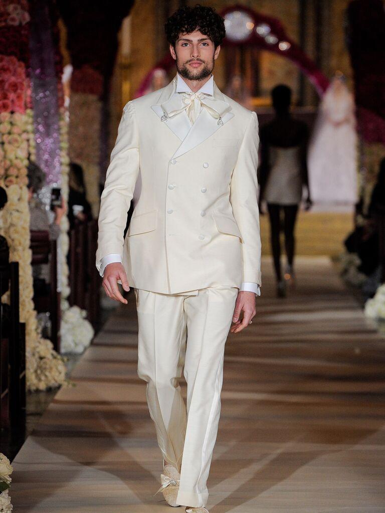 Joseph Abboud menswear white groom suit