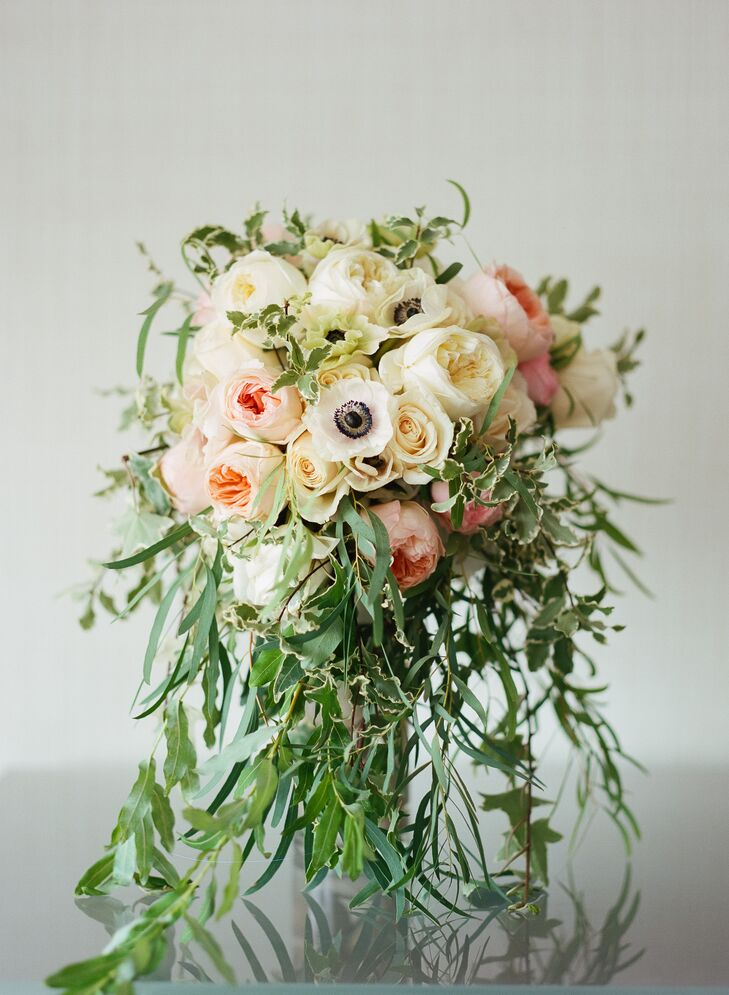 Ivory and Blush Bouquet with Anemones, Garden Roses, Greens