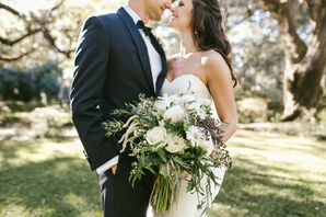 Bride, Groom and Cascading Bouquet of Peonies, Anemones, Scabiosa, Willow and Eucalyptus