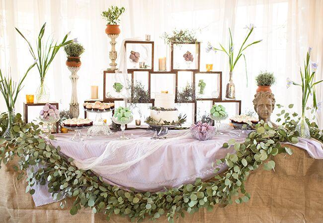 eucalyptus garland dessert table | Birds of a Feather Photography | Blog.theknot.com