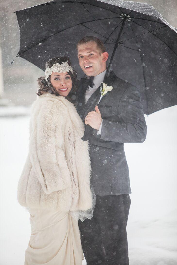 White Fur Coat Winter Bridal Accessory