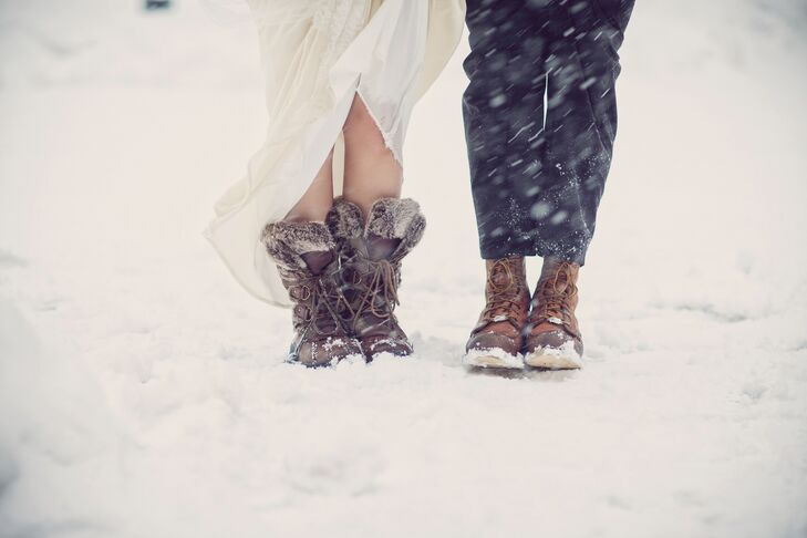Francesca and Mike changed into snow boots for post-ceremony photos outside.