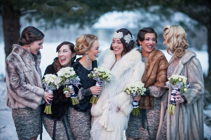 Francesca and her bridesmaids wore mismatched fur wraps to keep them warm outside in the freezing temperatures.