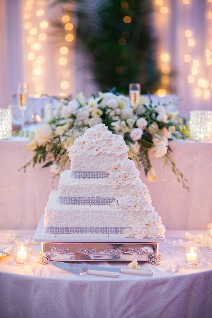 Square-Tiered Wedding Cake With Crystal Border