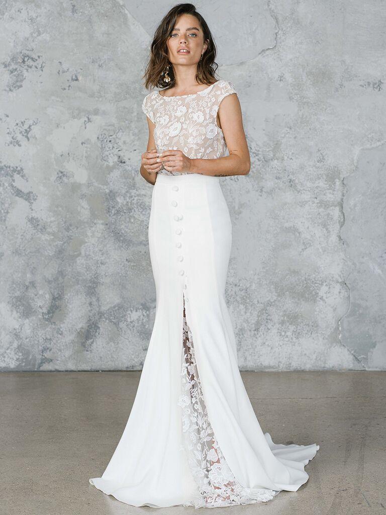 Rime Arodaky fit and flare dress with lace bodice and slit
