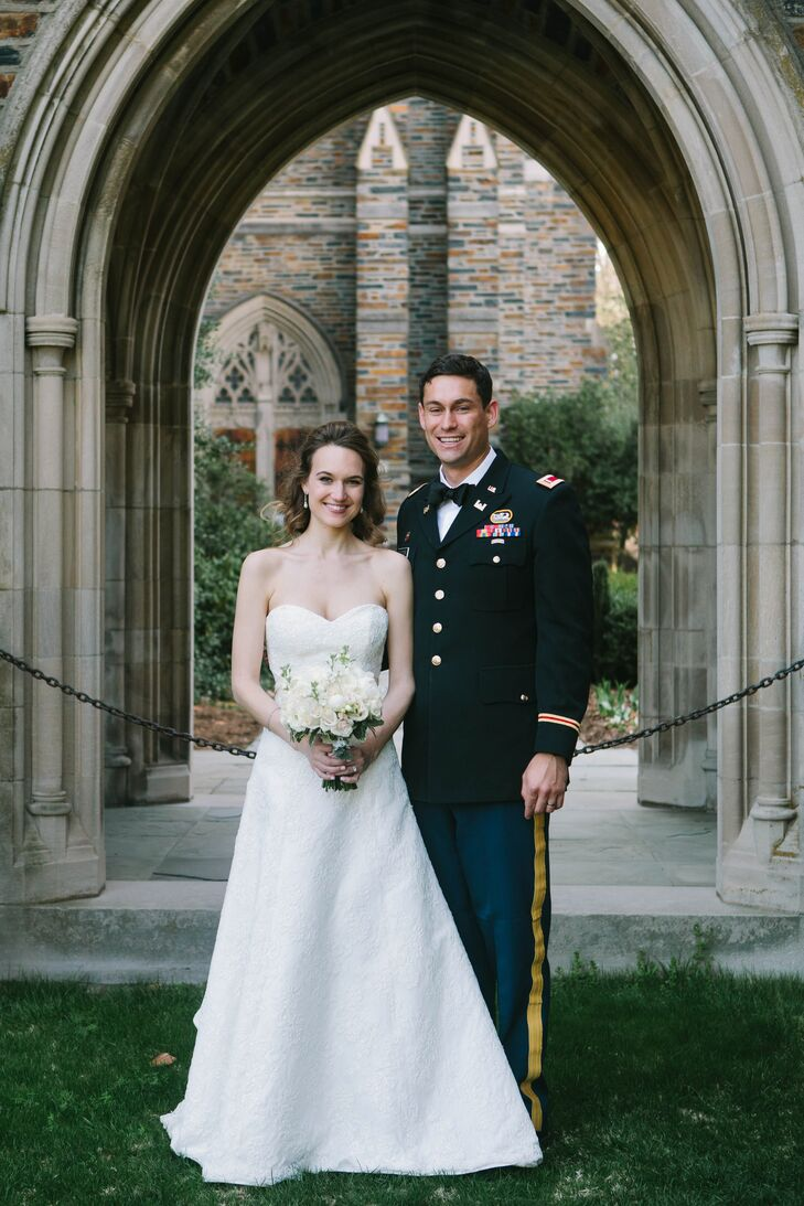 """The newlyweds swapped vows at the same chapel as the bride's parents.  """"After we secured our date, my mom and I went through all of my parents' wedding pictures,"""" says Sarah. """"It was incredible to see them, newly married, glowing, standing on the same stone steps that Phil and I would ourselves in a few months."""""""