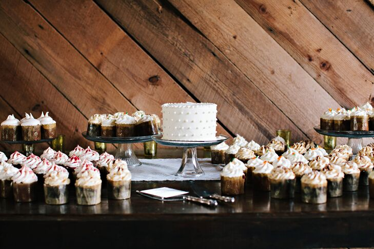 Sarah and Phil opted to cut a small carrot cake with cream cheese icing), and treated guests to a variety of cupcakes.