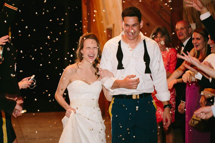 Guests showered the newlyweds with handfuls of heart-shaped confetti.