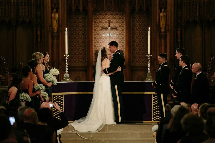 The couple didn't want to overshadow the chapel's natural beauty with an abundance of decorations, opting for simple hydrangea arrangements at the end of each pew.