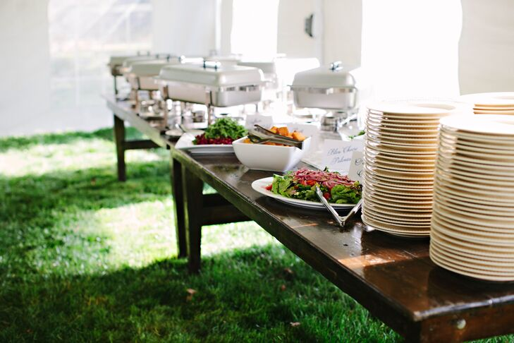 One of the couple's favorite restaurants created a custom menu for their farm reception.