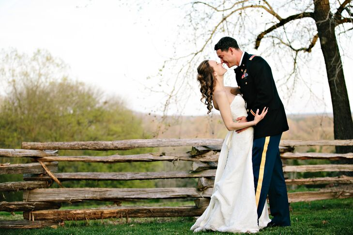 """""""My mom and I picked my dress the day Phil left for Afghanistan; I remember being in the dressing room, white lace everywhere, and saying goodbye to him on the phone,"""" says Sarah. """"I hung up and knew I was in the same dress I would be wearing on my wedding day!"""""""