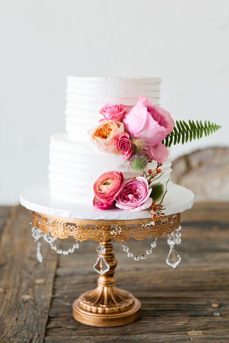 Pink Ranunculus and Rose Adorned Cake on Vintage Gold Stand