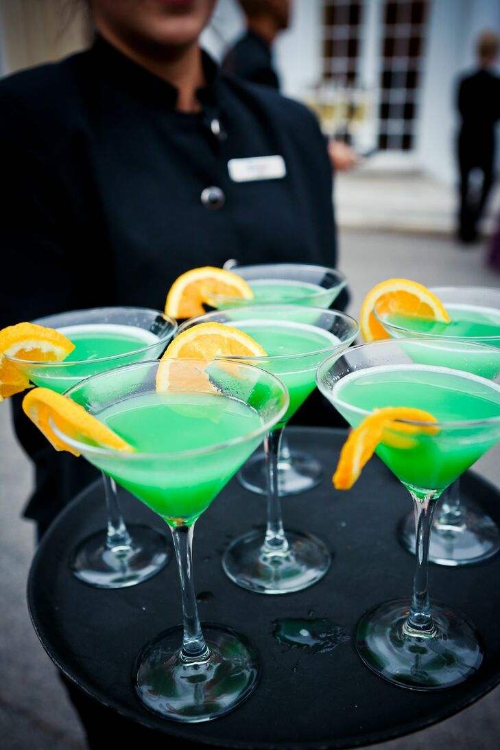 """Sharon and Chris served a blue/green signature cocktail called  """"The Tangelini"""" —in honor of Angie and Tyler. The secret ingredients that game it its bright color included Malibu coconut rum, blue Curacao, pineapple juice and orange juice."""