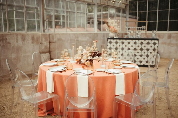 Ghost Chairs and Coral-Hued Table Linen at California Wedding
