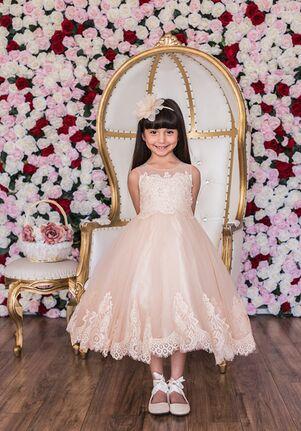 Kid's Dream Lace Applique Illusion Bateau Dress Ivory,Pink,White Flower Girl Dress