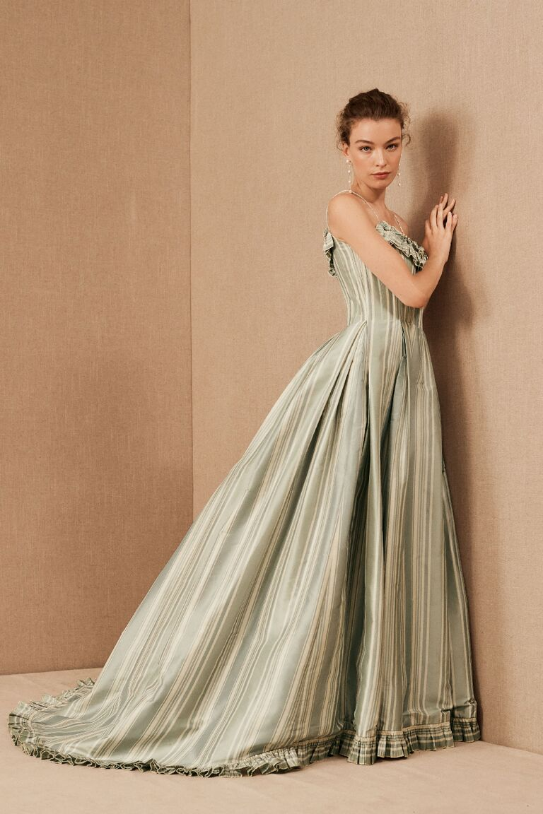 Vintage blue, green and white striped taffeta ball gown with ruffled scoop neckline
