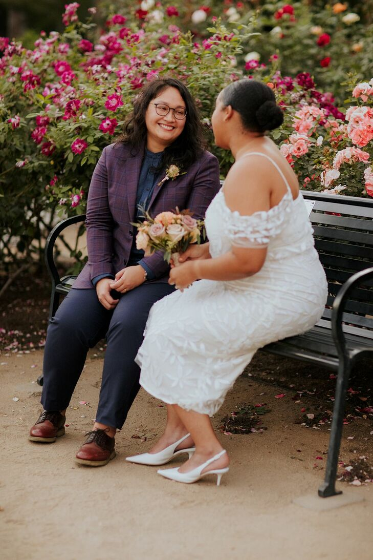 Couple Sitting on a Bench During California Elopement
