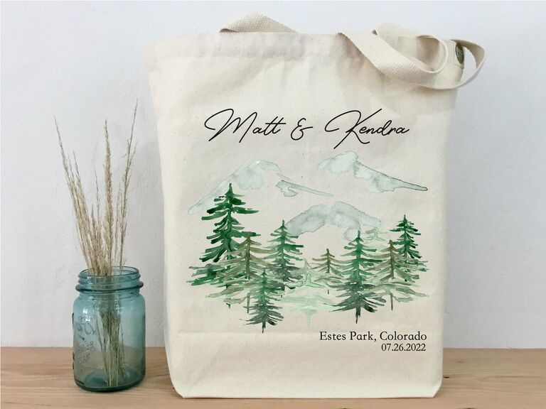Mountain and forest illustration tote wedding welcome bag with couple's names and date