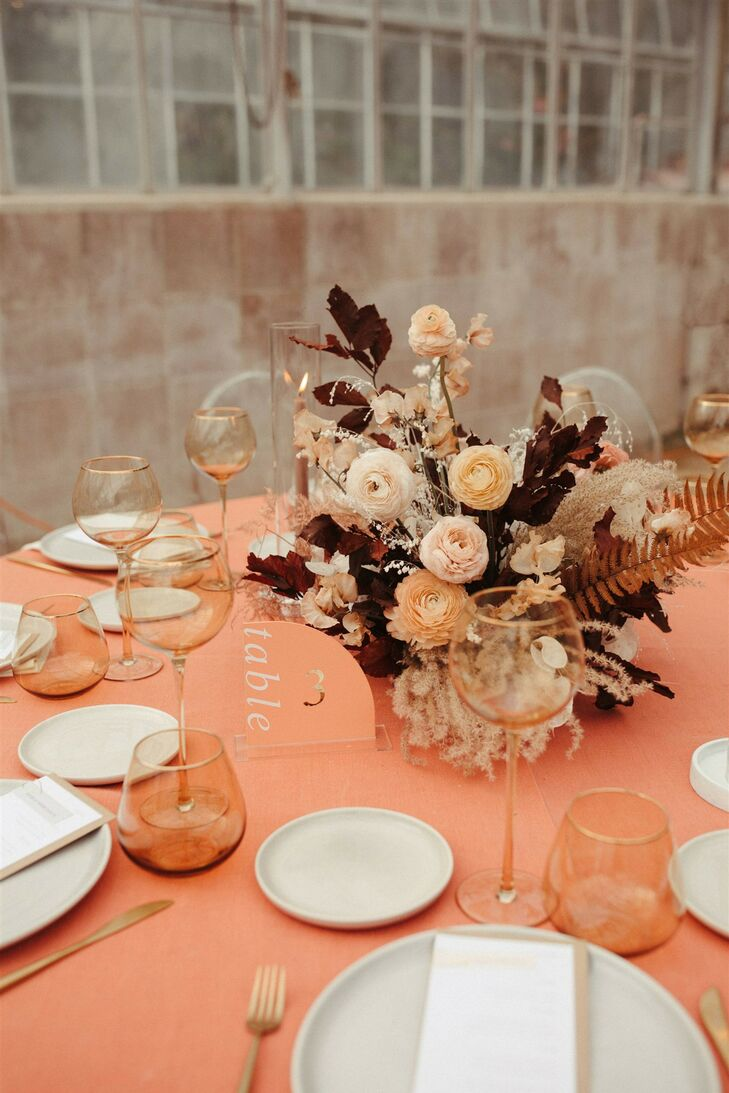 Coral-Hued Linens and Organic Floral Centerpiece