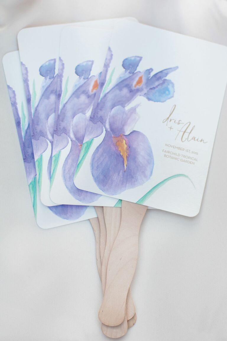 purple iris flower wedding fans