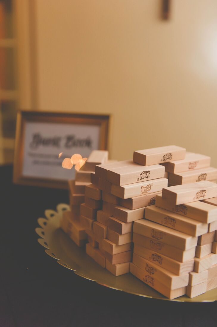 Instead of using a traditional guest book, Laurie and AJ asked guests to sign Jenga blocks for a fun twist.