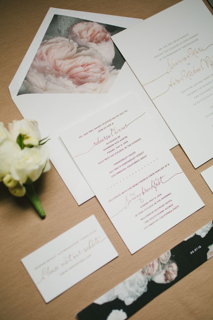 Shannon and Aaron worked closely with Lucky Luxe Couture to design rose gold letterpress invites and escort cards.