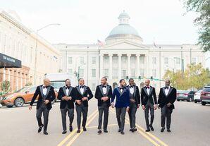 Groomsmen Walking Down the Road in Jackson, Mississippi
