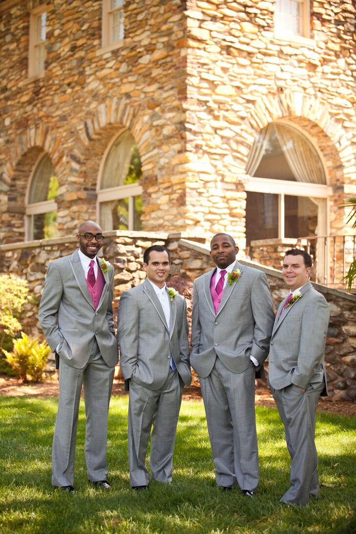 Gray and Pink Wedding Formalwear