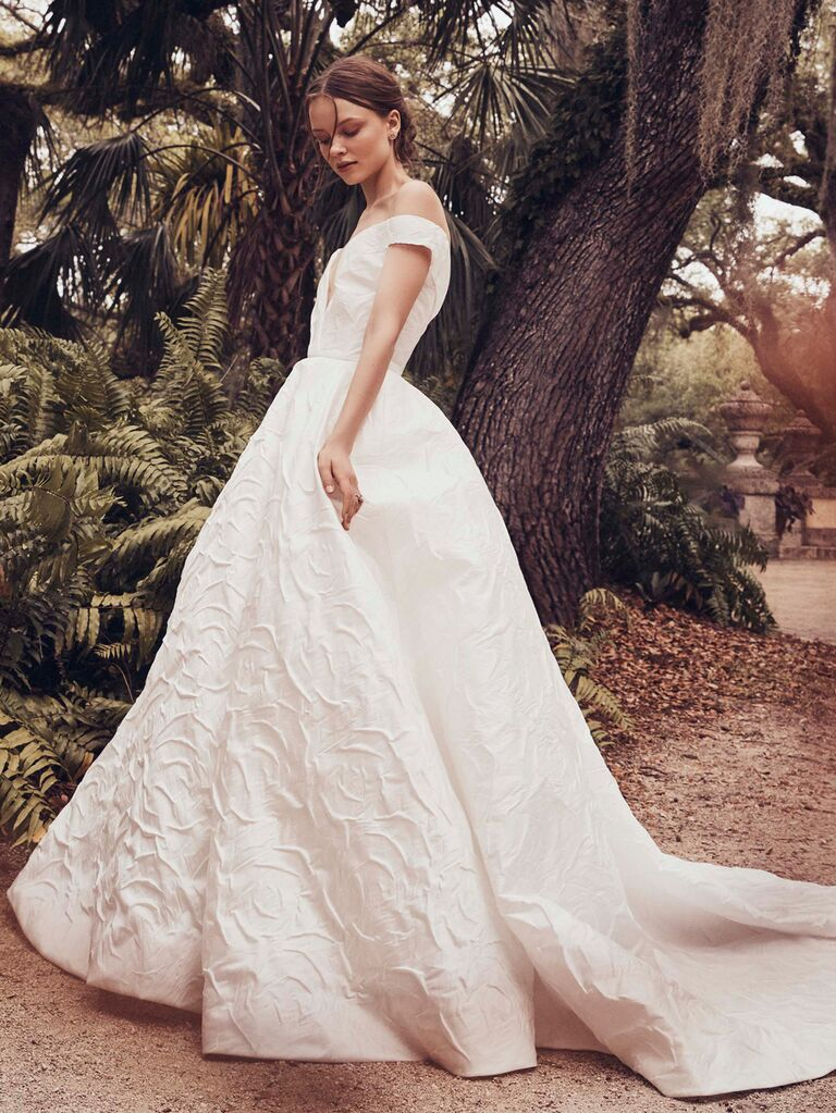 Monique Lhuillier Spring 2020 Bridal Collection jacquard wedding dress with off-the-shoulder sleeves
