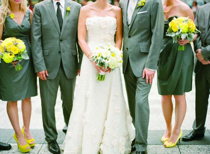 The girls wore gray dresses and yellow accessories, and the guys donned gray suits.