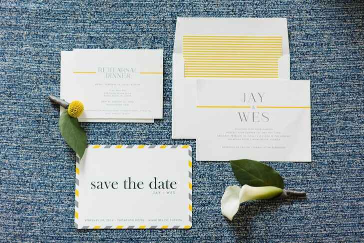 """""""We went for a vintage vibe with all print pieces,"""" Wes says of the invites, designed on Minted.com. """"We wanted the menus and signs to look like they were produced for a wedding in the 1950s."""""""