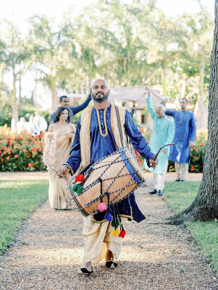 Indian Drum Entrance at Regal Miami, Florida, Wedding