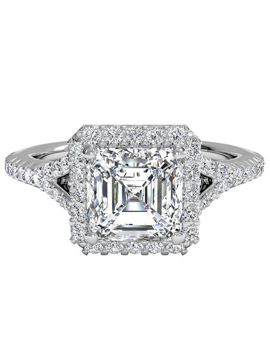 Ritani French-Set Halo Diamond 'V' Band Engagement Ring - in 14kt White Gold (0.23 CTW) for a Asscher Center Stone Engagement Ring photo